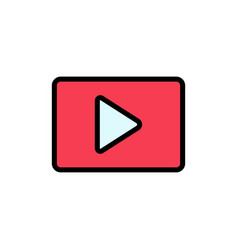 Youtube paly video player flat color icon icon vector