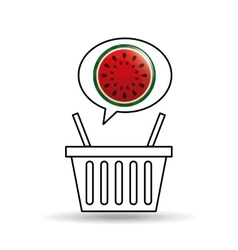 basket market sweet watermelon icon design vector image vector image