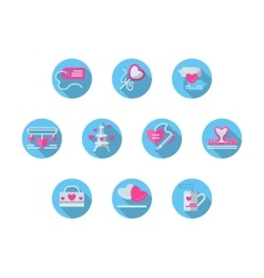 Blue round romantic events flat icons set vector image