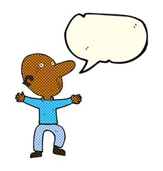 Cartoon worried middle aged man with speech bubble vector
