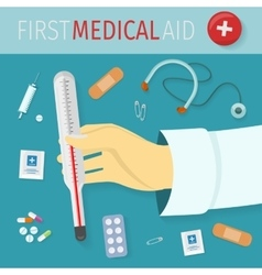 First Medical Aid Concept in Flat Design vector image vector image