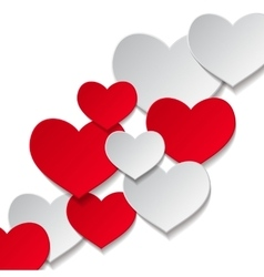 hearts white background vector image vector image