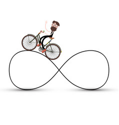 man on bicycle on infinite road symbol vector image vector image