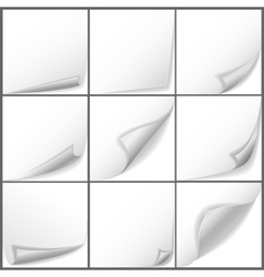 paper curled corners set vector image vector image
