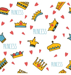 Princess seamless pattern with hand drawn crowns vector image