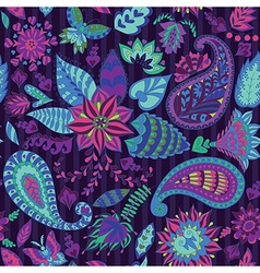 Seamless Floral Pattern with Paisley vector image vector image