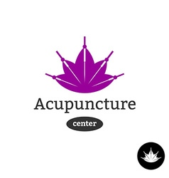 Acupuncture center logo Needles with lotus flower vector image