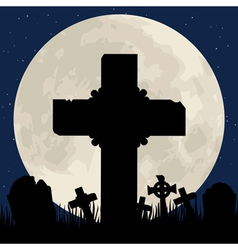 cenentary cross and moon vector image