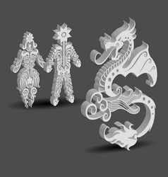 Dragon male and female floral decorations vector