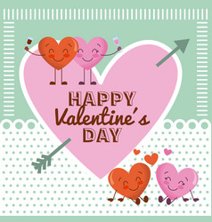 happy valentines day pink heart and cartoon couple vector image vector image