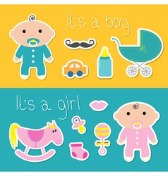 Its a boy girl banner set Baby shower card with vector image