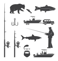 set of fishing icon vector image