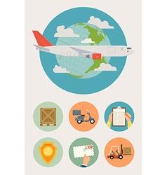 Cargo Plane Icon Set vector image