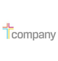 colour cross logo for church vector image