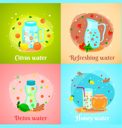 detox water 4 flat icons vector image