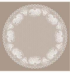 Round white lacy frame on beige background vector image