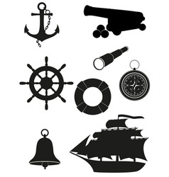 travel set of sea antique icons black silhouette vector image