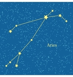 Aries Zodiac Symbol on Background of Cosmic Sky vector image