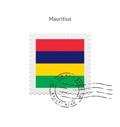 Mauritius Flag Postage Stamp vector image