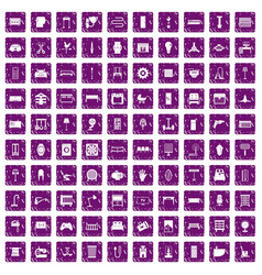 100 furnishing icons set grunge purple vector