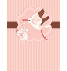 A place card of stork delivering newborn baby vector