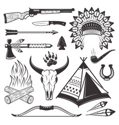 American indian hunter attributes and weapons vector