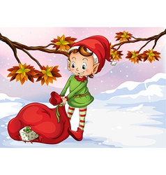 An elf holding a bag of gifts vector