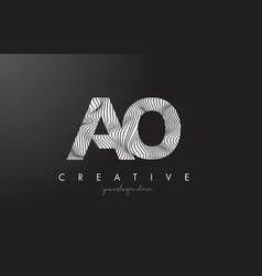 Ao a o letter logo with zebra lines texture vector