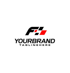 Auto speed letter f with race element logo vector