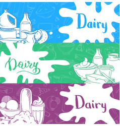 banners with lettering and hand drawn dairy vector image