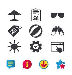 Beach holidays icons umbrella and sunglasses vector