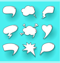 blue pop art speech bubbles set vector image