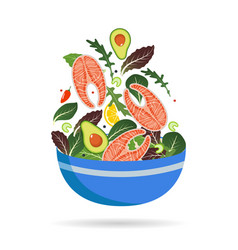 bowl of fresh mix of salad leaves vegetables and vector image
