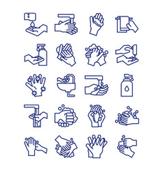 Bundle hands washing line style icons vector