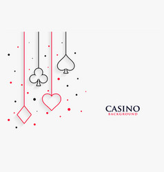 casino playing cards line symbols on white vector image