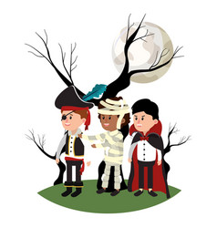 Children with costume and tree stalk with branches vector