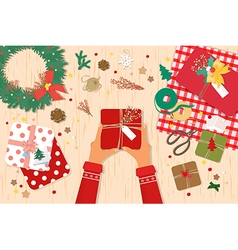 christmas decorationspreparing for card vector image