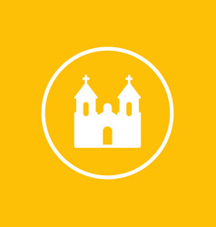 church icon in circle catholic temple sign vector image
