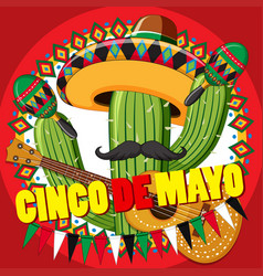 Cinco de mayo card template with cactus and guitar vector