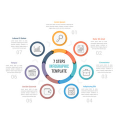 circle diagram with seven steps vector image