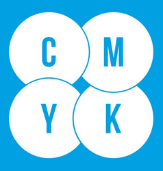 Cmyk circles icon white vector