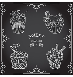 Collection of vintage cupcake hand drawn chalk vector