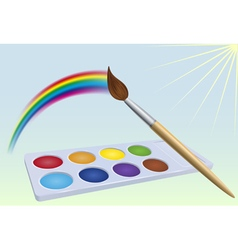 Colour-box rainbow brush and sun vector