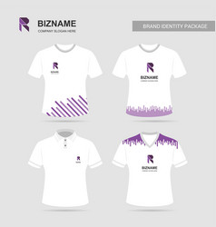 company logo t-shirts set with r logo vector image