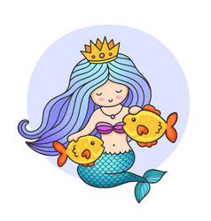 Cute mermaid with two golden fish vector