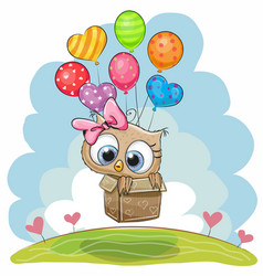 Cute owl with balloons vector