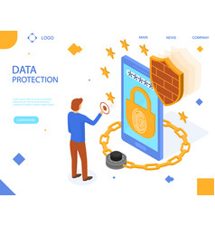 data protection concept landing web page template vector image
