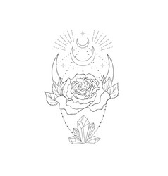 Decorative mystery floral design with moon tattoo vector