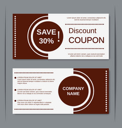 Discount coupon design template vector image