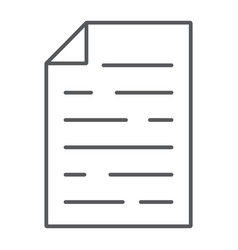 document thin line icon office and work file vector image